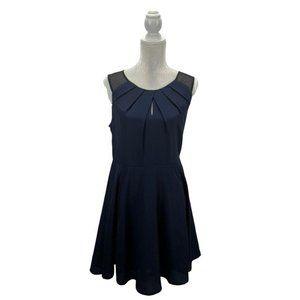 Express Navy Chiffon Fit & Flare Skater Dress 12